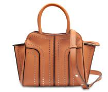 Sella Borchie Mini Tasche mit Studs aus braunem und schwarzem Kalbsleder