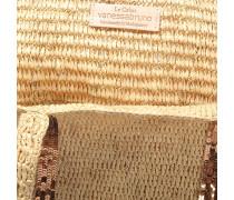 Bast and Pailletten Large Tote Bag aus karamelfarbenem Bast