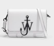 Mini Handtasche Logo aus schwarzem und weißem Kalbsleder