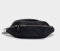 Attica Soft Fanny Pack with Logo in Black Lambskin