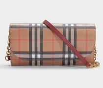 Portemonnaie mit Kette Henley aus rotem Kalbsleder