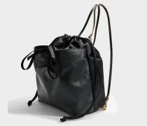 Backpack aus schwarzem Nylon und Nappaleder