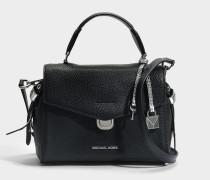 Bristol small Top Handle Satchel Tasche aus schwarzem Pebble Leder
