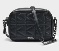 K/Kuilted Crossbody Tasche aus schwarzem Kalbsleder