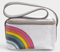 Handtasche Lunch Box Rainbow aus silbernem Kalbsleder