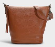 Handtasche Duffle aus genarbtem braunem Kalbsleder 1941