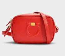 Camera Bag Gancio City aus rotem Kalbsleder