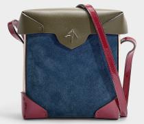 Mini Handtasche Pristine Combo aus Kalbsleder und pflanzlich gegerbtem Velours in Fuchsia, Khaki und Beige
