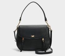 Schultertasche Evie mit Taschenklappe Medium aus schwarzem Kalbsleder