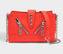 Handtasche Mini Kalifornia aus rotem Kalbsleder