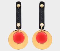 Ohrringe mit Cabochon aus schwarzem Leder Horn und Metall