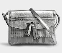Small Macken Crossbody Tasche in Silberoptik aus Kalbsleder