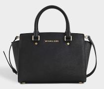 Selma Medium Top Zipped Satchel Tasche aus schwarzem Saffia Leder
