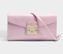 Kleine Clutch Metropolis mit Kette aus rosa Kalbsleder