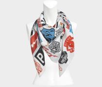 110X110 Tiger Poster Seide Square Tuch aus weißer Seide
