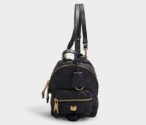 Schwarzer, gesteppter Mini Rucksack aus Nylon