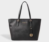 Jet Sand Travel Top Zip Tote Bag aus schwarzem Saffia Leder