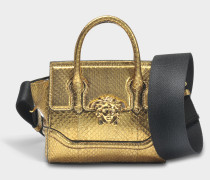 Palazzo Empire Mini Tasche aus goldfarbenem Wasserschlangenleder