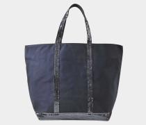 mittlerer Shopper + aus blauer Baumwolle und Paillettaus mit Reißverschluss
