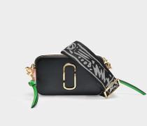 Handtasche Snapshot aus Kalbsleder mit Polyurethan Beschichtung Schwarz und Blassrosa
