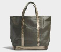 Coated Linen Medium + Tote Bag aus Khaki Leinen