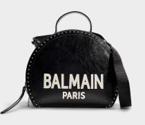 Handtasche Drum aus schwarzem und weißem Kalbsleder