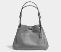 Turnlock Edie Tasche aus dunkelem grauem Kalbsleder
