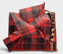 Große Handtasche Bow aus Baumwolle in Rot und Schwarz mit Leoprint