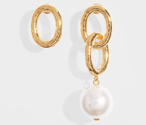 Manon Earrings in Gold-Plated Brass and Glass Pearl