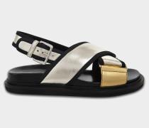 Cross Front Sandalen aus goldfarbenem Leder