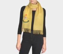 bestickter Schal aus beigem Kaschmir