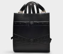 Rucksack und Shopper aus schwarzem Kalbsleder