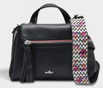 Horizonal Mini Tote Bag aus schwarzem Kalbsleder