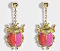 Elvira Scarab Ohrringe aus rotem und rosanem Emaille und 18K vergoldetem Messing