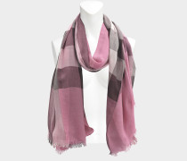 Sheer Mega Check Tuch aus rosanem Modal Kaschmir und Seide