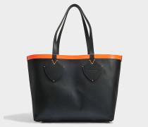Medium Check Tote Bag aus schwarzem und neonorange Canvas und Kalbsleder