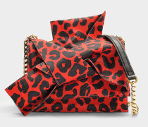 Kleine Handtasche Bow aus Baumwolle in Rot und Schwarz
