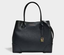 Mercer Gallery Large Center Zip Tote Bag in Black Grained Calfskin