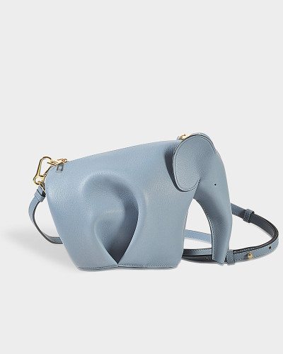 Handtasche Elephant Mini aus blauem Kalbsleder