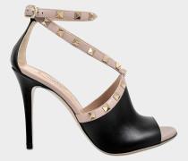 Rockstud Cross Front Sandalen aus schwarzem Kalbsleder