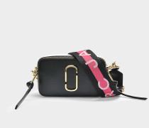 Handtasche Snapshot aus Kalbsleder mit Polyurethan Beschichtung Schwarz Bunt