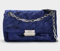 Handtasche mit Schulterriemen Ziggy Velours aus marineblauer Baumwolle