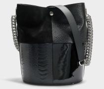 Bucket Bag Genesis aus schwarzem Kalbsleder