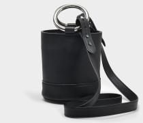 S801S Bonsai 15 Cm Tasche with Strap aus schwarzem Baranil Kalbsleder