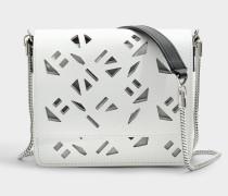 Flyausg Logo Essentials Shoulder Bag mit Chain aus weißem Kunststoff und Leder