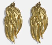 Elvira Federn Clip Ohrringe aus 18K vergoldetem Messing