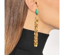 Leaves Ohrringe aus vergoldetem Messing mit Malachit