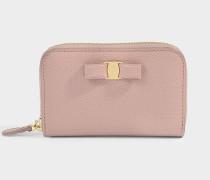 Kleines Portemonnaie mit Reißverschluss Ginny aus rosa Kalbsleder