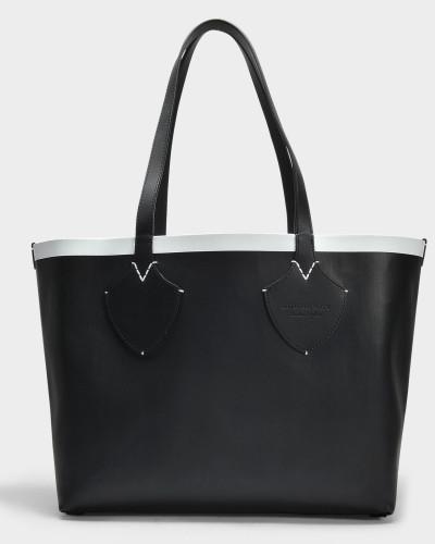 Medium Check Tote Bag aus schwarzem und weißem Canvas und Kalbsleder