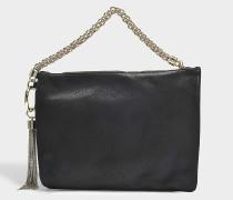 Handtasche mit Reißverschluss Callie aus KalbsVeloursleder Schwarz